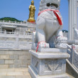Statue of goddess and lion in China. Dalian — Stock Photo #3994697