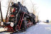 蒸気機関車。ロシア。冬. — ストック写真