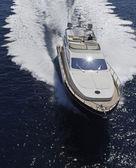 Italy, Sicily, Panaresa Island, luxury yacht, aerial view — Stock Photo
