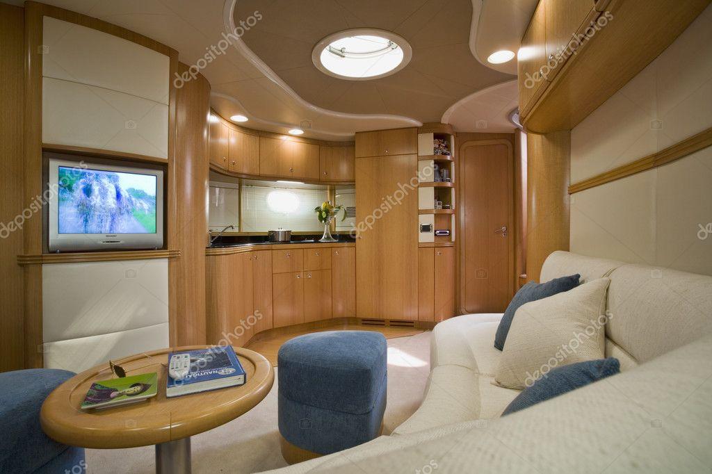 Italy, Naples, Aqua 54' luxury yacht (boatyard: Cantieri di Baia), dinette