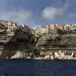 France, Corsica, Bonifacio colorful houses seen from the sea — Stock Photo