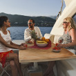 Italy, Liguria, Tirrenian coastline, on a luxury yacht — Stock Photo