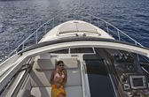 France, Corsica, luxury yacht, Azimut Atlantis 50, dinette — Stock Photo