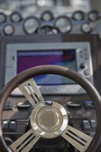 Italy, luxury yacht, Azimut Atlantis 50 in a marina, driving consolle — Stock Photo