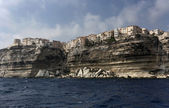 France, Corsica, Bonifacio, the rocky coastline at the entrance of the port — Stock Photo