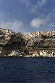 France, Corsica, Bonifacio colorful houses seen from the sea — Stock Photo