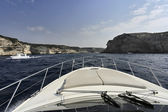 France, Corsica, Bonifacio channel, on a luxury yacht — Stock Photo