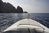 France, Corsica, Girolata Marine National Park, luxury yacht — Stock Photo