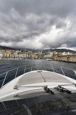 Francja, korsyka, bastia, widok światła portu i miasta od morza — Zdjęcie stockowe