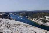 France, Corsica, Bonifacio, view of the port channel from the old walls — Stock Photo