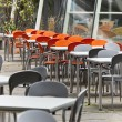Empty dining tables in the street — Stock Photo