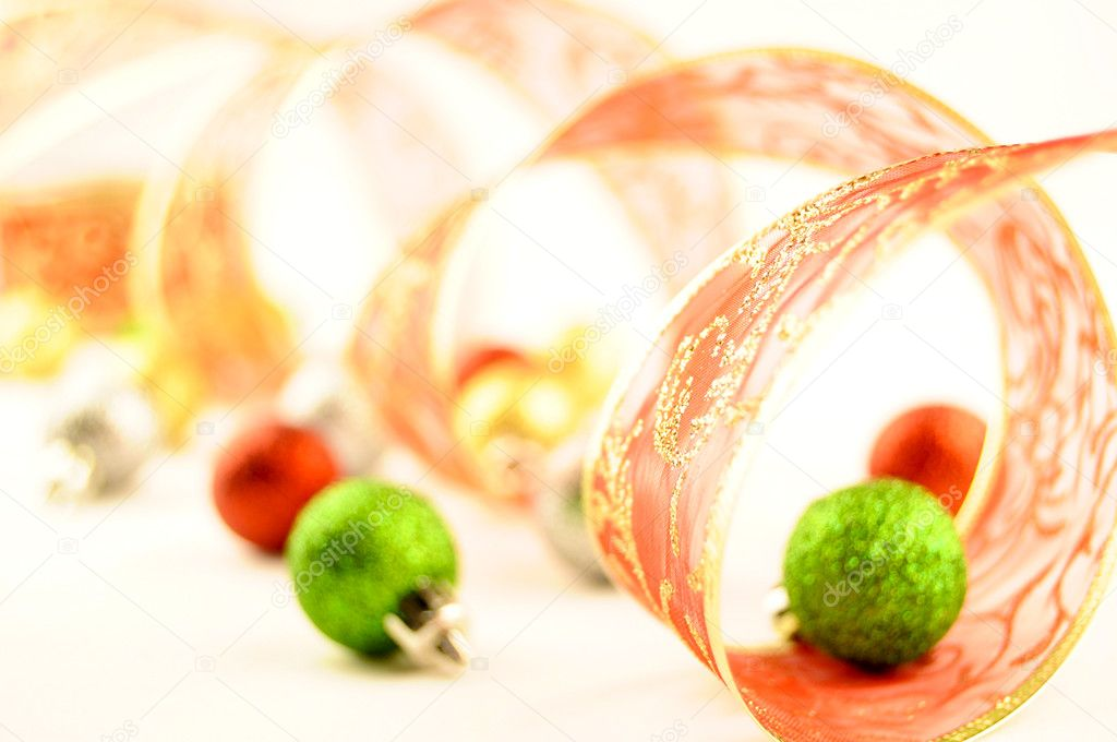 Holiday ribbon and christmas balls on a white background — Stock Photo #4206964
