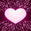 Pink purple light burst, fireworks with heart frame — Stock Vector