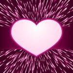 Pink purple light burst, fireworks with heart frame — Stock Vector #4608670