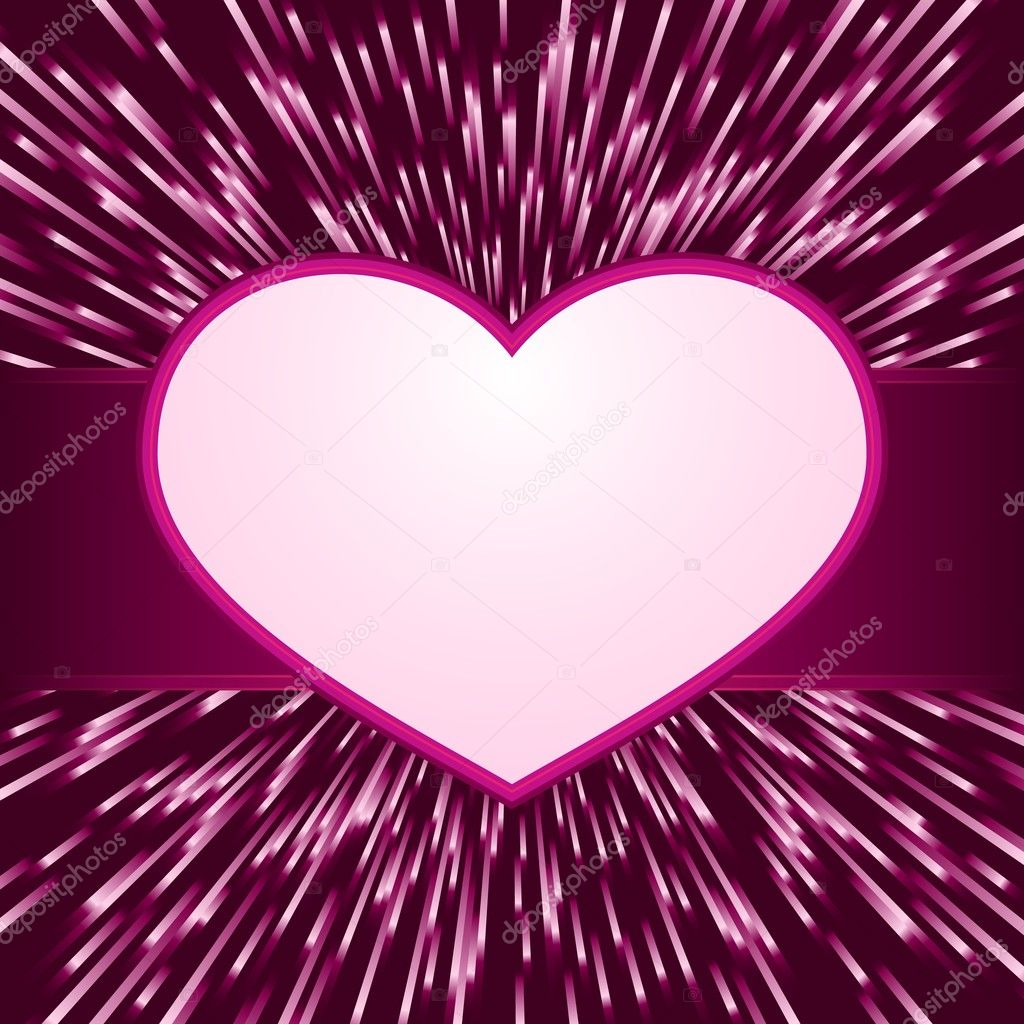 Pink purple explosion of light with centered  heart frame with space for your text. Great for your romantic designs, or for Valentines day. — Stock Vector #4608670