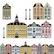 Stock Vector: Old town houses. Vector illustration
