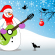 Snowman playing guitar - Stock Vector