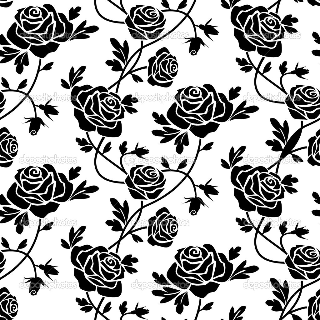 Romantic roses seamless pattern, black flowers at white background, repeating design. — Stock Vector #4168468