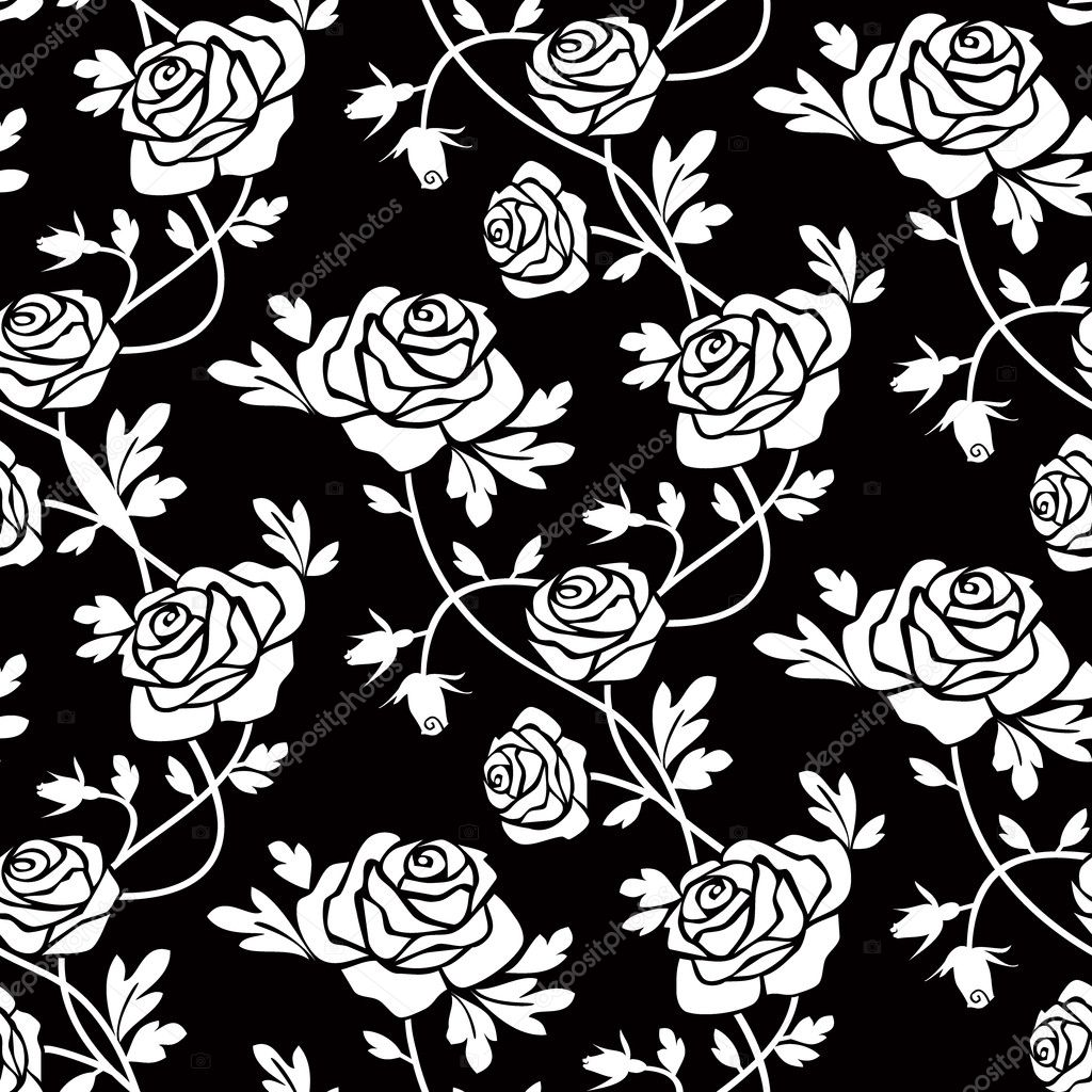 Romantic white roses on black background, vector seamless pattern, repeating design. — Stock Vector #4188737