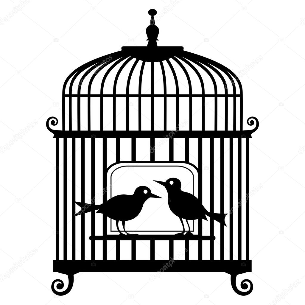 Black birdcage silhouette with two birds, isolated on white background, full scalable vector graphic included Eps v8 and 300 dpi JPG. — Stock Vector #4281442