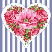 Victorian roses heart — Stock Vector