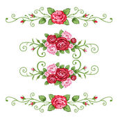 Set of roses banners — Stock Vector