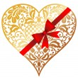 Stock Vector: Gold heart with bow