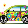 Ecology flower power car — Stock Vector