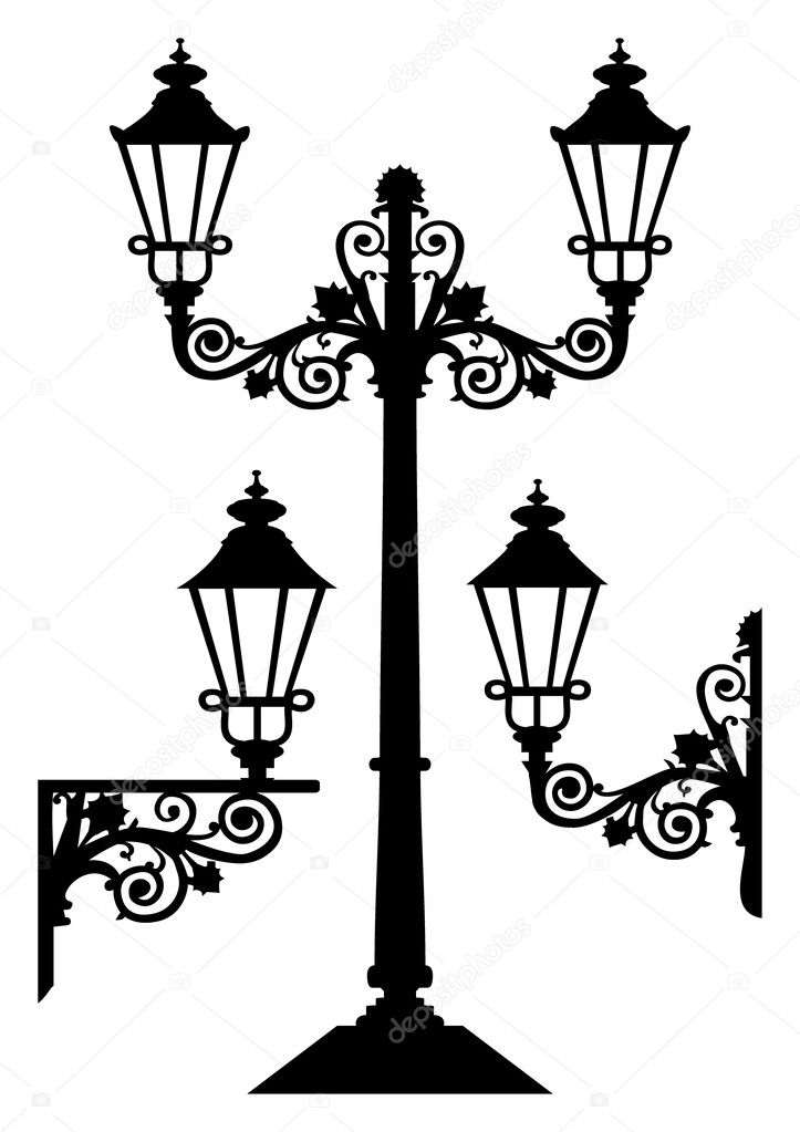 Vector silhouettes, illustration of antique street lamp isolated on white, full scalable vector graphic.  — Stock Vector #4917961