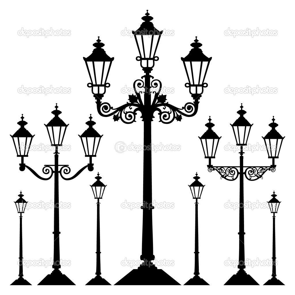 Set of antique retro street light lamps, isolated on white background,  full scalable vector graphic.  Stock Vector #4918400