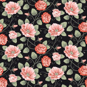 Roses seamless pattern — Stock Vector