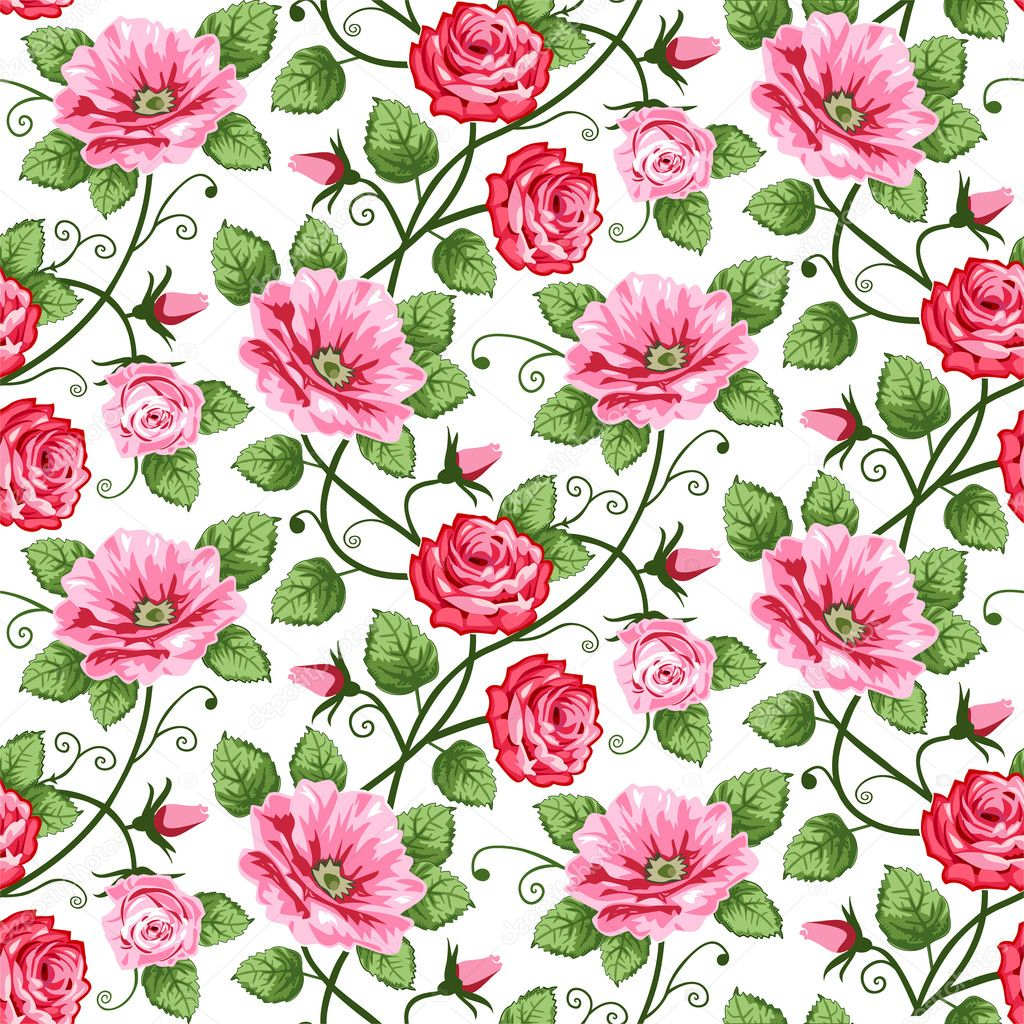 Vector roses seamless pattern on white, repeating design. — Stock Vector #4940529