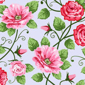 Romantic roses seamless pattern — Stock Vector