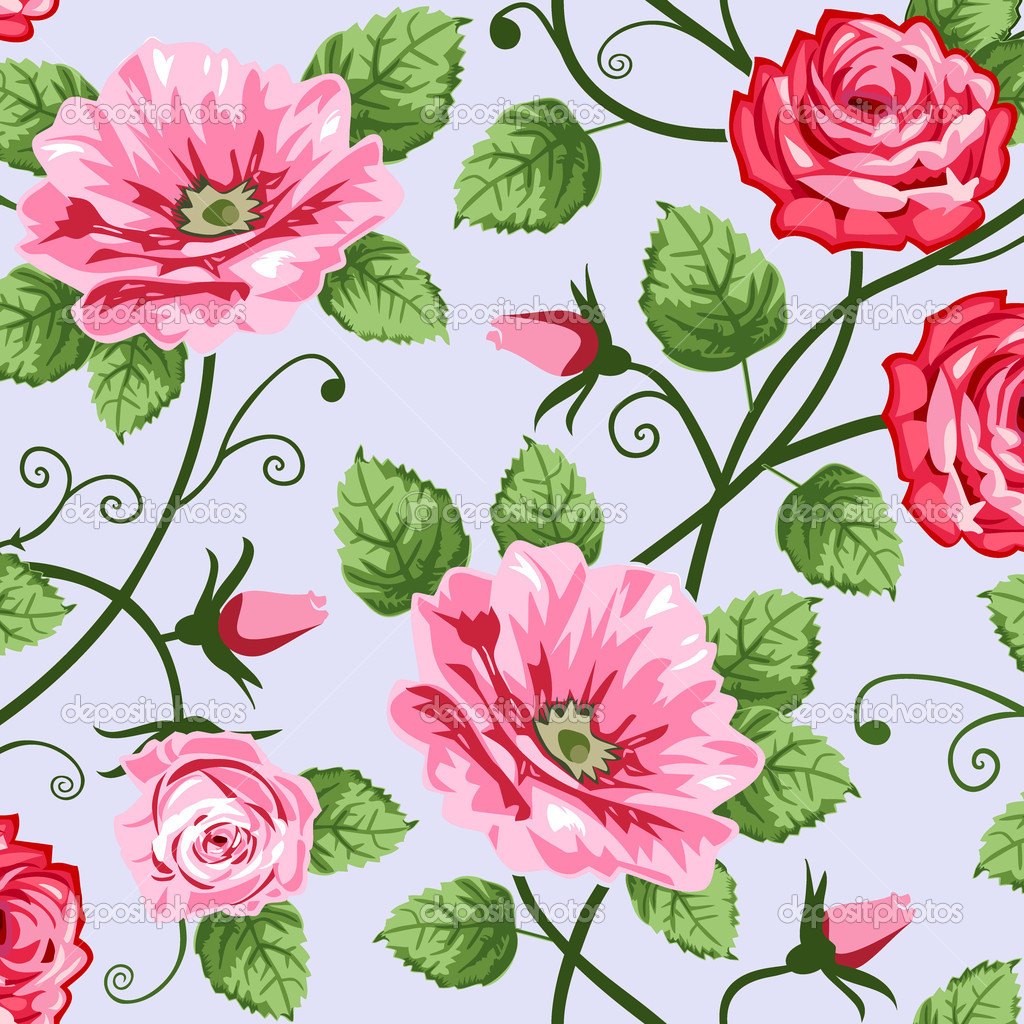 Pink roses on blue background, vector repeating seamless pattern, full scalable vector graphic for easy editing and color change. — Stock Vector #4954107