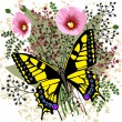 Butterfly on spring flowers - Stock Vector