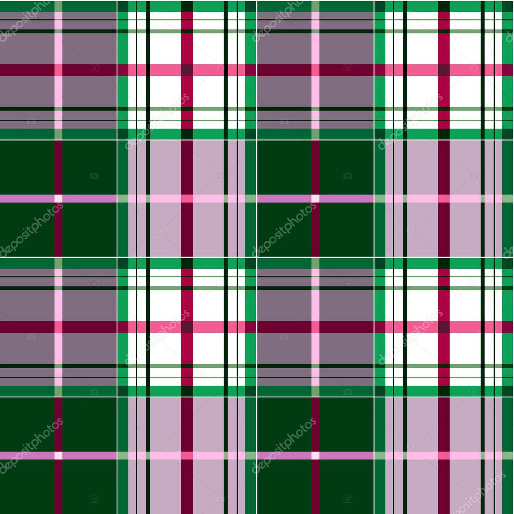 Green and pink tartan plaid fabric textile pattern, seamless checkered vector pattern, repeat design.  Stock Vector #5007937