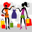 Stock Vector: Fashion shopping women
