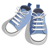 Children blue sneaker — Stock Vector