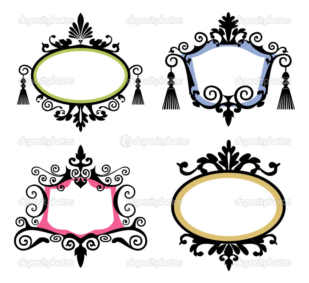 Set of black vintage frames on white background, four decorative elements for your designs. — Stock Vector #5228829