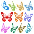 Stock Vector: Set of colorful butterfly silhouettes - vector graphic
