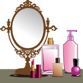 MakeUp and Mirror — Stock Vector