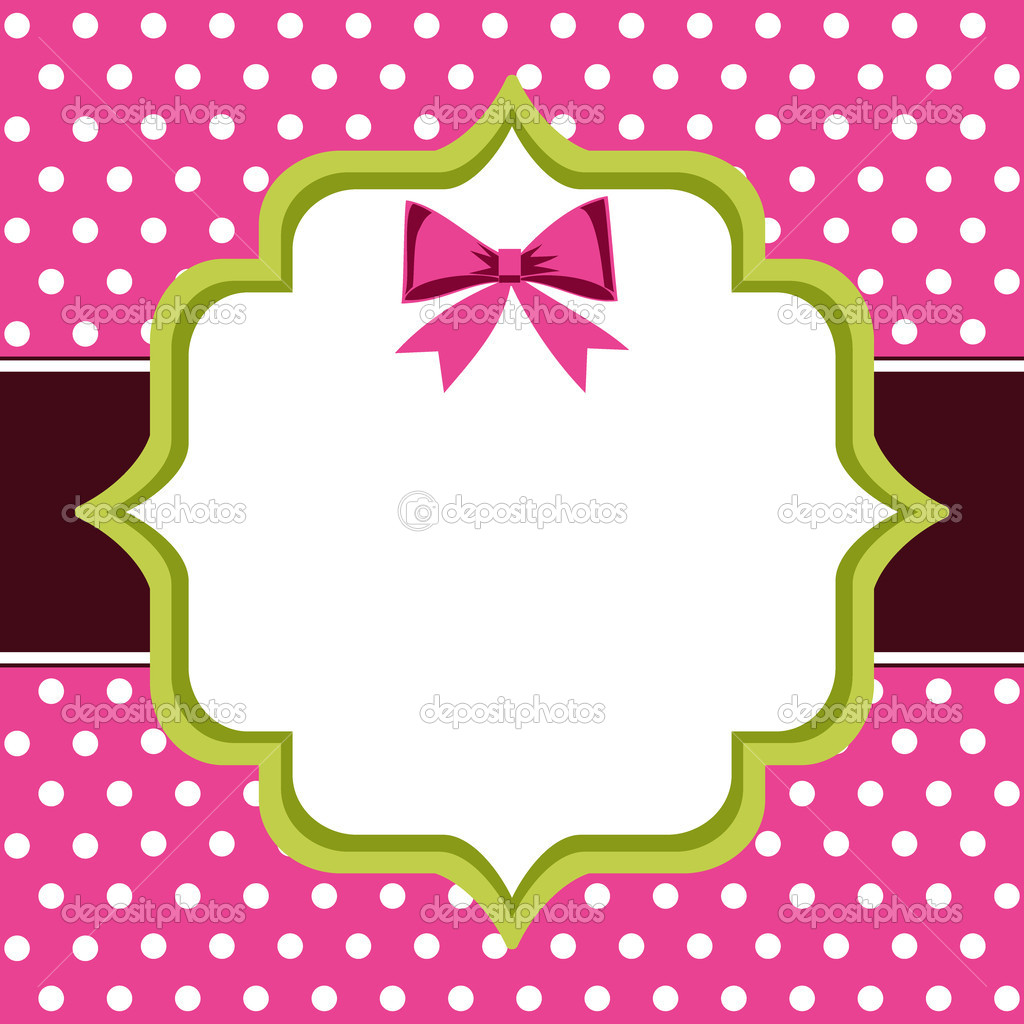 Vintage Frame, polka dot background with blank template and copy space for greetings card or photo frame. — Stock Vector #5271092
