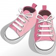 Stock Vector: Children pink shoes