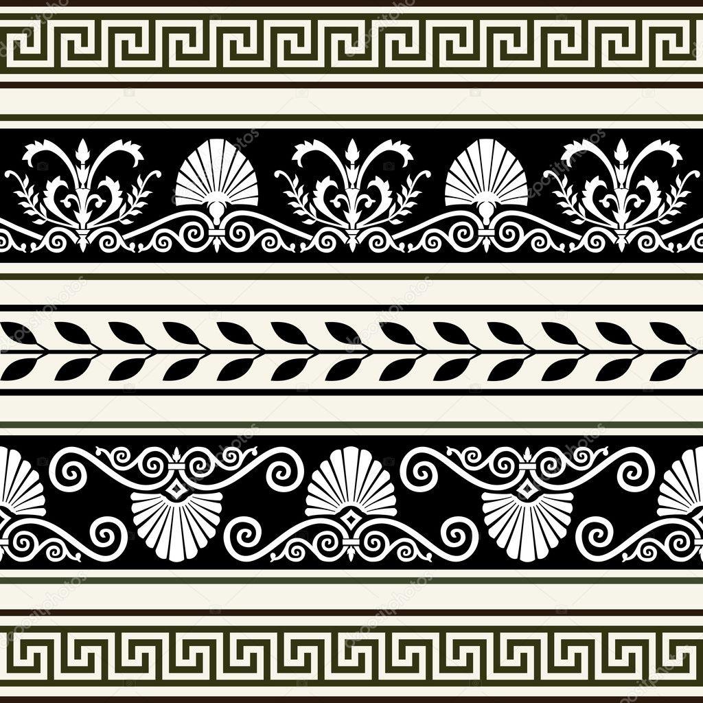 Set of antique borders stock vector elakwasniewski for Greche decorative