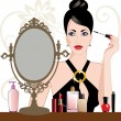 Stock Vector: Glamour womapplying makeup