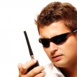 Young security man with radio transmitter — Stock Photo #3934412