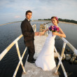 Stock Photo: Young married couple and the sea view