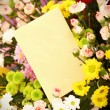 Blank card and flowers - Stock Photo