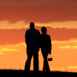 Romanic couple walking — Stock Photo