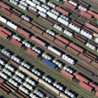 Wagons on rails bird&#039;s-eye view - Stock Photo